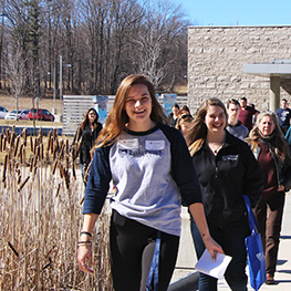 Students arriving for the march break open house
