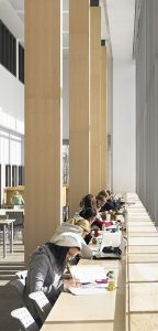 Students studying in Orillia Commons