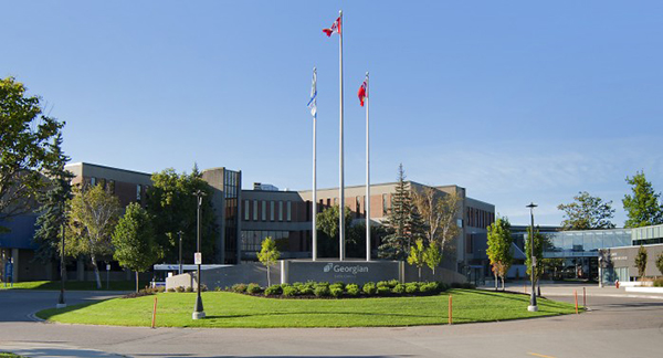 Exterior image of the main building on the Barrie campus