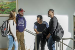 Four students hanging out at the LU Orillia Campus