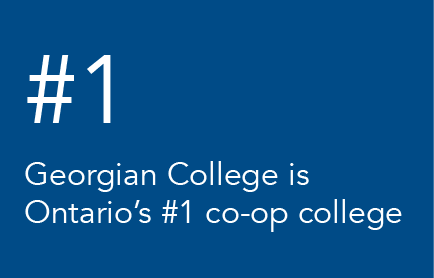Georgian College is Ontario's #1 co-op college is written in white on a blue background