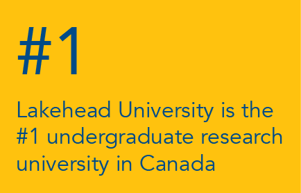 Written on a yellow background are the words Lakehead University is the #1 undergraduate research university in Canada in blue letters