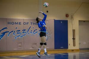 Female volleyball player jumping to spike the ball