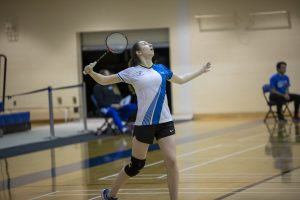 Jessica Maher playing badminton