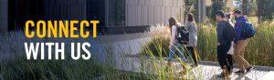 Five students walk across the plankway to the entrance to Lakehead University Orillia